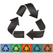 Vector recycle sign with dark grey metal pattern Stock Illustration