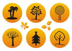 Orange vector set of various tree icons isolated - stock illustration
