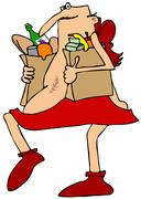 Cupid carrying groceries - stock illustration