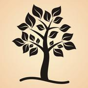 Stock Illustration of Black tree with leaves on apricot colored background