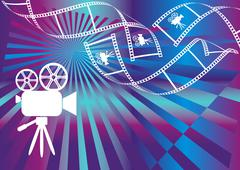 Shiny background with film stripes and movie camera - stock illustration