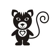 Cute black cat icon with heart on white Piirros