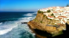 Azenhas do Mar , Tilt Shift Effect Stock Footage