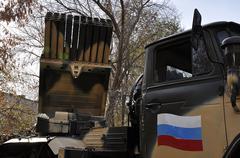 Element reactive system volley fire BM-21 Grad - stock photo