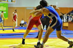 Competitions on Greco-Roman wrestling Stock Photos