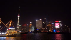 Timelapse Pudong modern skyscraper Shanghai boat sail landmark night emblem icon Stock Footage