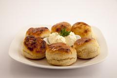 bun with cream cheese - stock photo