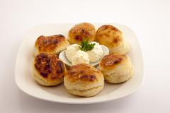 Bun with cream cheese 1 Stock Photos