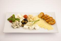 four cheese appetizer plate 1 - stock photo