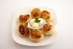bun with cream cheese 3 - stock photo
