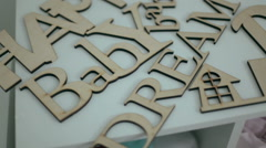 Decor. wooden words Stock Footage
