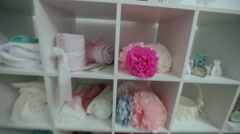 shelves with wedding decorations - stock footage
