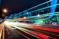 Motion Cars at Night Stock Photos
