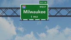 4K Passing Milwaukee Interstate Highway Sign with Matte 1 neutral Stock Footage