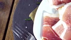 Sliced Ham (seamless loopable) Stock Footage