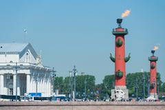 Rostral columns, St. Petersburg Stock Photos