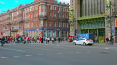 ST. PETERSBURG, RUSSIA - CIRCA JUN 2014: Traffic on Nevsky Prospect Stock Footage