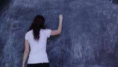 Woman writing Happy New Year in class Stock Footage