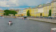 ST. PETERSBURG, RUSSIA - CIRCA JUN 2014: Pleasure boats on the Fontanka river Stock Footage