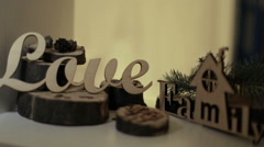 Wooden decorations Stock Footage