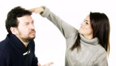 Couple fighting funny slow motion isolated Stock Footage