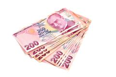 two hundred Turkish Lira on a white background - stock photo