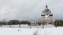 Orthodox Church in Kondopoga, Russia, Slider Shot Stock Footage