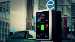 4K Electric Vehicle Charging Station in Work 3 stylized - stock footage