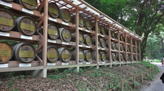 Stock Video Footage of Wall of Wine Barrels At The Meiji Jingu Shrine