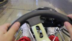 First-person view, riding a karting Stock Footage