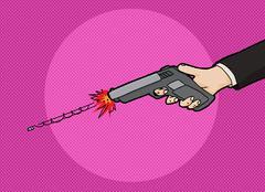 Firing a Pistol Stock Illustration