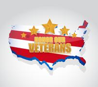 Honor our veterans us map illustration design Stock Illustration