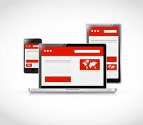 Responsive web design. computer electronics Stock Illustration