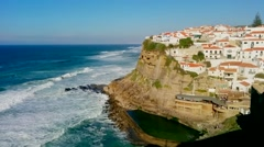 Village on a Cliff , with natural pool bellow Stock Footage