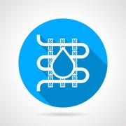 Round vector icon for water underfloor heating - stock illustration