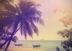 Vintage stylized photo of Andaman sea coast, Aonang in Thailand. Stock Photos