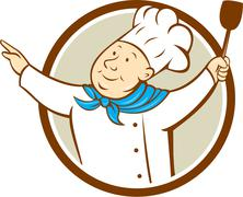 Chef Cook Arms Out Spatula Circle Cartoon - stock illustration