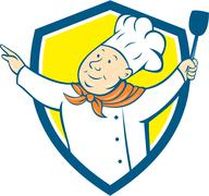 Chef Cook Arm Out Spatula Shield Cartoon. Stock Illustration