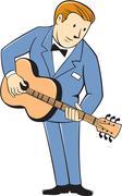 Stock Illustration of Musician Guitarist Standing Guitar Cartoon.