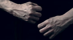 Strong male hands with swollen veins - stock footage