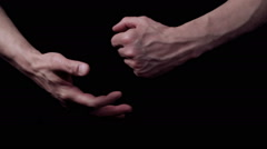 Stock Video Footage of Strong male hands with swollen veins. The fist hits the palm