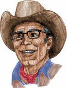 mature cowboy portrait - stock illustration