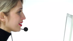 Call center operator at work. 4k - stock footage