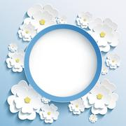 Stock Illustration of Round frame with 3d sakura, invitation or greeting card