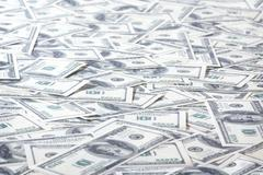 Field of One Hundred Dollars Notes Stock Photos