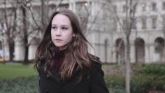 Teenage girl passing by - Cinema 4K - stock footage