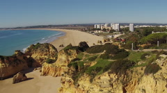 Aerial from Praia tres Irmaos in the Algarve Portugal Stock Footage
