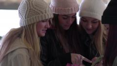 Teen Girls Hang Out At Mall And Use A Smartphone Stock Footage