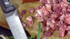 Diced Ham (not loopable) Stock Footage