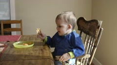 A toddler eats his grilled cheese for lunch Stock Footage